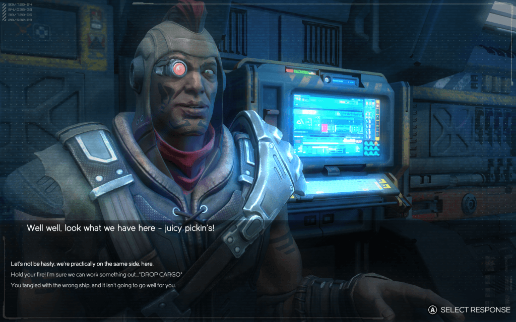You'll meet some interesting characters in Rebel Galaxy, with a myriad of options in order to interact with them.