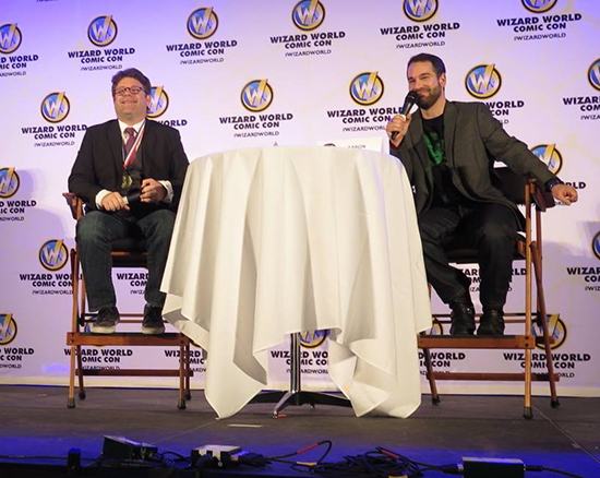 "Sean Astin at the Raleigh WizardWorld Comic Con. with (""cool emcee"") Entertainment Journalist, Aaron Sagers. Image taken by Pamela Poole."