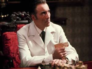 "Sir Christopher Lee as Bond villain Scaramanga in ""The Man with the Golden Gun."" Image from http://www.independent.co.uk/arts-entertainment/films/features/james-bond-the-spy-who-loved-to-look-cool-7896694.html?action=gallery&ino=7"
