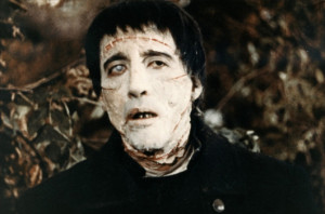 "Sir Christopher Lee's first role with Hammer House of Horror: the monster in ""Curse of Frankenstein."" Image from http://www.classic-monsters.com/the-curse-of-frankenstein-hammer-1957/"