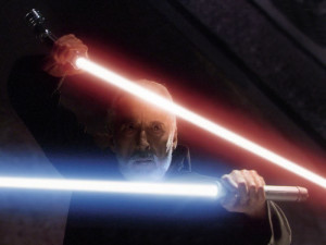 A fencer in his own right off the screen, Sir Christopher Lee filmed most of his own sword work. Here he dual-wields lightsabers as Count Dooku. Image from http://cinefantastiqueonline.com/2010/06/sir-christopher-lee-on-saruman-the-white-and-the-other-great-wizards-of-the-lord-of-the-rings-trilogy/